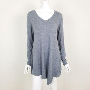 LOGO Cotton Cashmere Asymmetrical Hem Tunic Top